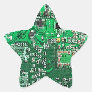 Computer Geek Circuit Board - green Star Sticker