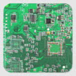 Computer Geek Circuit Board - green Square Stickers