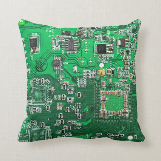 Computer Geek Circuit Board - green Throw Pillow