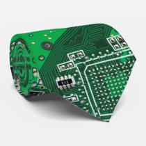 Computer Geek Circuit Board green Tie