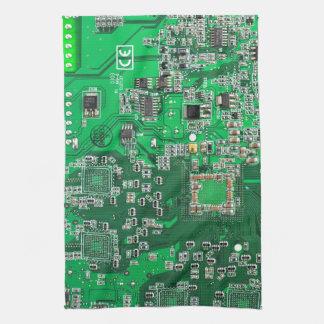 Computer Geek Circuit Board - green Towel