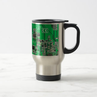 Computer Geek Circuit Board - green Travel Mug