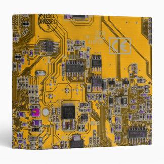 Computer Geek Circuit Board - neon orange 3 Ring Binder