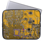 Computer Geek Circuit Board - neon orange Laptop Computer Sleeves
