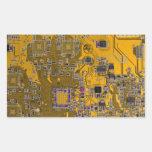 Computer Geek Circuit Board - neon orange Rectangle Stickers