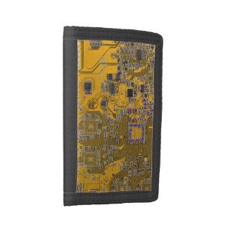 Computer Geek Circuit Board - neon orange Trifold Wallet
