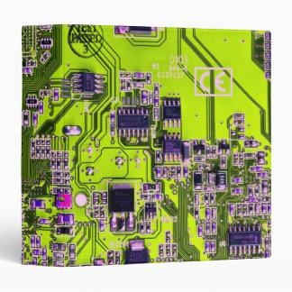 Computer Geek Circuit Board - neon yellow 3 Ring Binder