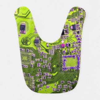 Computer Geek Circuit Board - neon yellow Bib