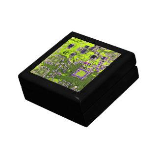 Computer Geek Circuit Board - neon yellow Jewelry Box