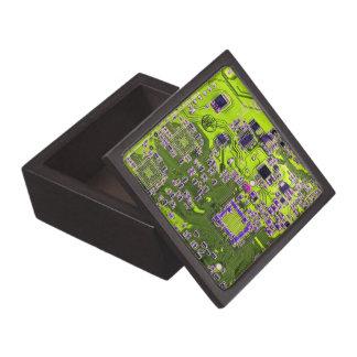 Computer Geek Circuit Board - neon yellow Keepsake Box