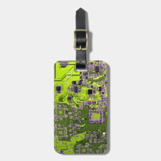 Computer Geek Circuit Board - neon yellow Luggage Tag