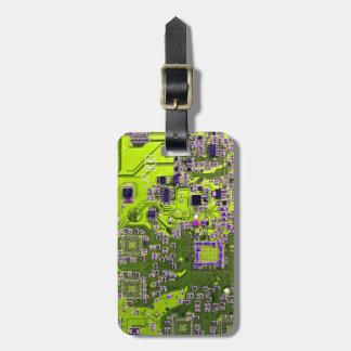 Computer Geek Circuit Board - neon yellow Luggage Tags