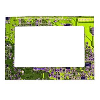 Computer Geek Circuit Board - neon yellow Magnetic Photo Frame