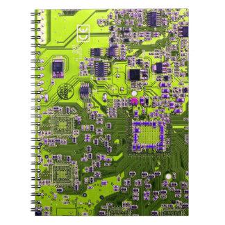 Computer Geek Circuit Board - neon yellow Spiral Notebook