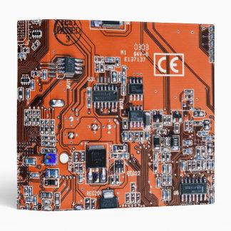 Computer Geek Circuit Board - orange 3 Ring Binder