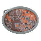 Computer Geek Circuit Board - orange Belt Buckle