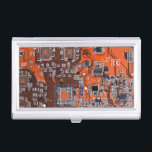 """Computer Geek Circuit Board - orange Business Card Case<br><div class=""""desc"""">This one&#39;s for the Geeks in all of us.  Computer Geek Circuit Board - orange</div>"""