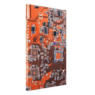 Computer Geek Circuit Board - orange Canvas Print