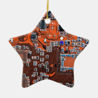 Computer Geek Circuit Board - orange Ceramic Ornament