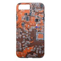 Computer Geek Circuit Board - orange iPhone 8 Plus/7 Plus Case