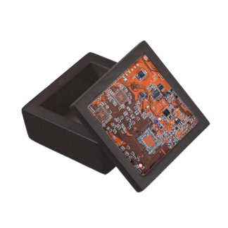 Computer Geek Circuit Board - orange Jewelry Box