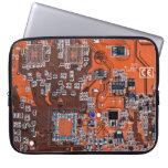Computer Geek Circuit Board - orange Laptop Sleeves