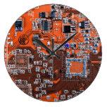 Computer Geek Circuit Board - orange Large Clock