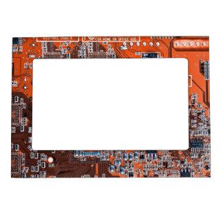 Computer Geek Circuit Board - orange Magnetic Picture Frame