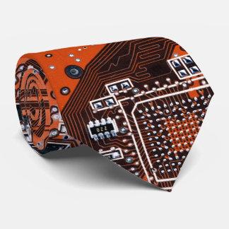 Computer Geek Circuit Board - orange Neck Tie