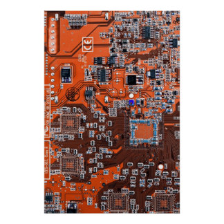 Computer Geek Circuit Board - orange Poster