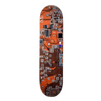 Computer Geek Circuit Board - orange Skate Board
