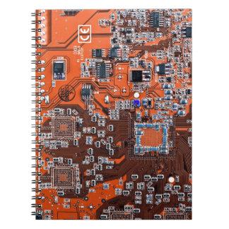 Computer Geek Circuit Board - orange Spiral Notebook