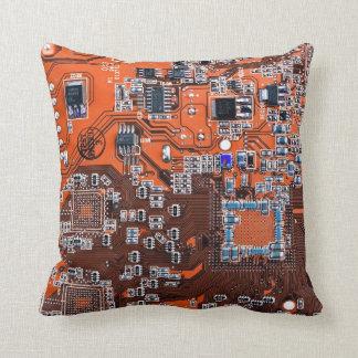 Computer Geek Circuit Board - orange Throw Pillow