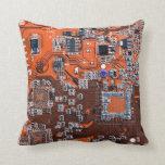 Computer Geek Circuit Board - orange Throw Pillows