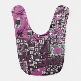 Computer Geek Circuit Board - pink purple Bib