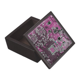 Computer Geek Circuit Board - pink purple Keepsake Box