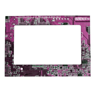 Computer Geek Circuit Board - pink purple Magnetic Picture Frame