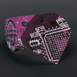 """Computer Geek Circuit Board - pink purple Neck Tie<br><div class=""""desc"""">This one&#39;s for the Geeks in all of us.  Computer Geek Circuit Board - pink purple</div>"""