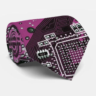 Computer Geek Circuit Board - pink purple Neck Tie