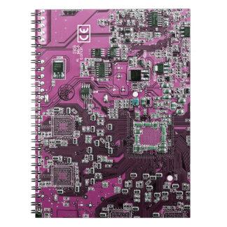 Computer Geek Circuit Board - pink purple Spiral Notebook