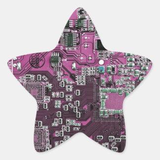 Computer Geek Circuit Board - pink purple Star Sticker
