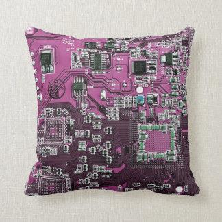 Computer Geek Circuit Board - pink purple Throw Pillow