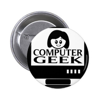 Computer Geek Girl Female Buttons