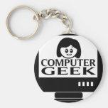 Computer Geek Girl Female Keychains