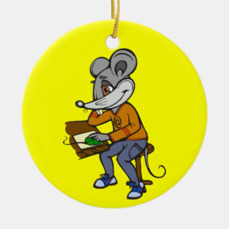 Computer Geek Mouse Double-Sided Ceramic Round Christmas Ornament