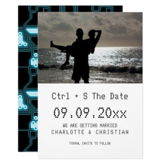 Computer Geek Save The Date Ctrl S Wedding Card