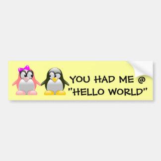 Computer Geek Valentine: Programming Language Love Car Bumper Sticker