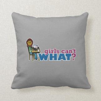 Computer Girl - Dark Throw Pillow