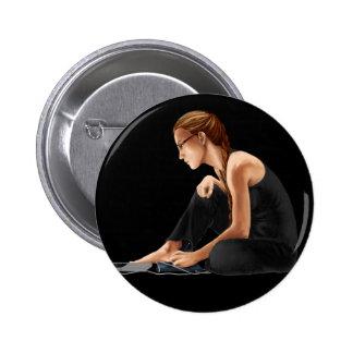 Computer Girl: Nerdy Is Beautiful Pinback Button