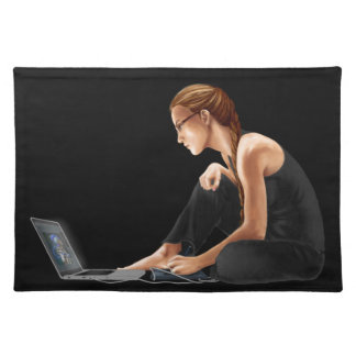 Computer Girl: Nerdy Is Beautiful Cloth Place Mat